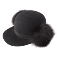 フォックスファー付き フェルト キャップ 帽子 ブラック M58