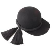 タッセルロープ付き フェルト キャップ 帽子 ブラック M58