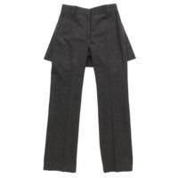 重ね着風 ウール パンツ ズボン チャコールグレー 0