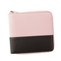 スモールジップ マルチファンクション レザー ラウンドファスナー 折財布 105023 ピンク×ブラック