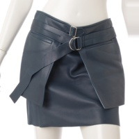 ベルト付き レザー スカート ブルー 36