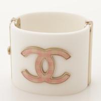 ギンガムチェック ココマーク ブレスレット バングル  B11C ホワイト ピンク