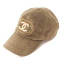 ココマーク ビーズ刺繍 パイル キャップ 帽子 カーキ