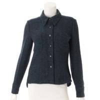 ツイード シャツ ジャケット P19970 ブルー×ブラック 38