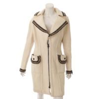 06A スポーツライン アルパカ混 ロング コート オフホワイト 40