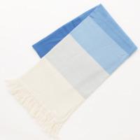 カシミヤ フリンジ付き グラデーション マフラー 05C ブルー ホワイト