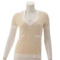 06A ココマーク ニット Tシャツ ベージュ×ホワイト