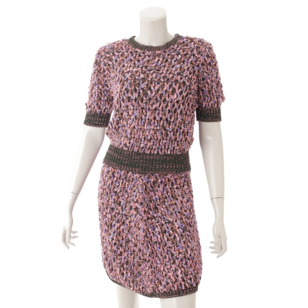 15S シルク混 ニット スカート セットアップ ピンク×グリーン