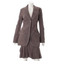 03P デニム ジャケット スカート セットアップ スーツ ピンクブラウン 40