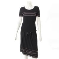 02P セットアップ Tシャツ スカート P19189 ブラック×ピンク 36
