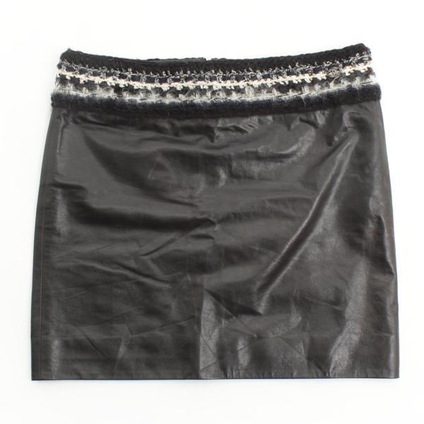 ラムレザー スカート ブラック