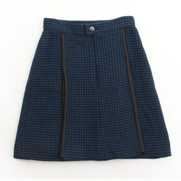 08A ツイード ライオンボタン スカート ブルー