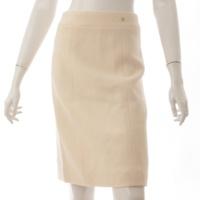 03A ココマーク シルク混 スカート P22365 アイボリー 34