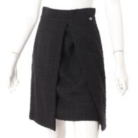 ココマーク モヘヤ混 ツイード スカート P36414 ブラック 38