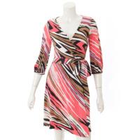 シルク ラップ ドレス ワンピース ピンク 2