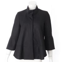 スタンドカラー フリル ウール ジャケット ブラック 4