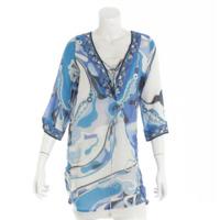 カフタンチュニック ワンピース ドレス ブルー