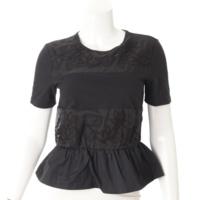 フラワー刺繍 裾フリル Tシャツ ブラック 38