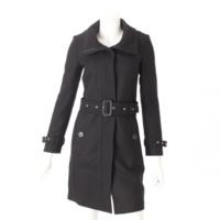 ウール ベルト付き ロングコート ブラック 34