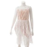 チェスティ ノースリーブ 花柄 スパンコール ドレス ワンピース OS519 ベージュ 0