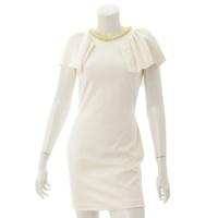 MSGM エムエスジーエム  チェーンネック バックオープン ドレス ワンピース クリーム 42