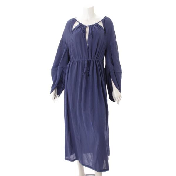 シルク ラグラン袖 ドレス ワンピース ブルー 42