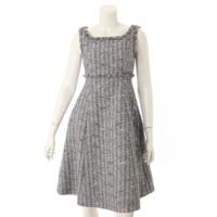 19年 ノースリーブ ツイード ドレス ワンピース 39220 ブラック×ホワイト 38