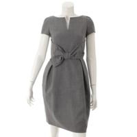 キャスタードレス つけ襟付き リボン 半袖 ワンピース 26538 グレー 38