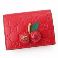 チェリー グッチ シグネチャー カードケース レザー 二つ折り 財布 476050 レッド