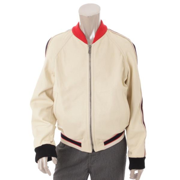 18SS ロゴ ブローグ レザー ボンバージャケット 497399 ホワイト 48