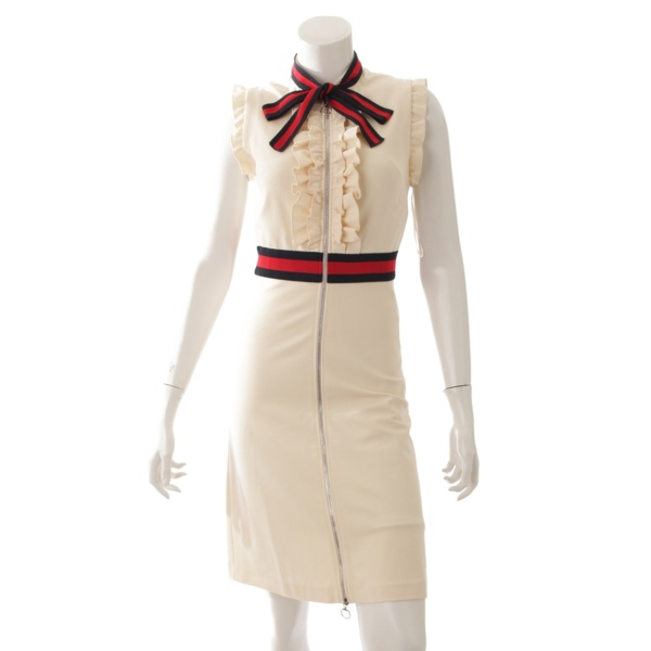 17AW ウェブトリム ジャージー ドレス ワンピース 434249 ベージュ