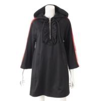 18SS フード付き ジャージー ドレス ワンピース 502280 ブラック XS