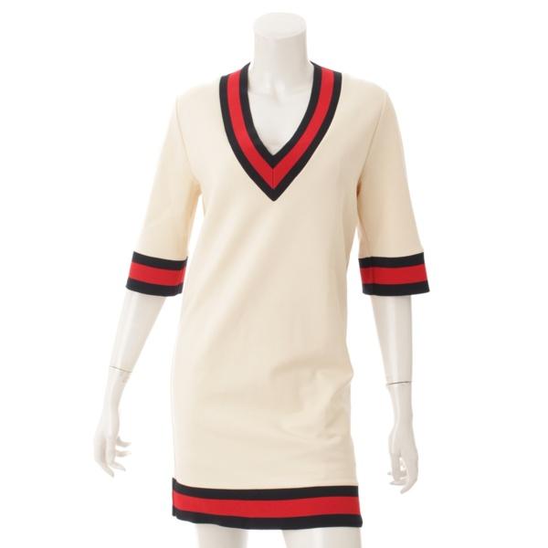現行品 ウェブ ストレッチヴィスコース ドレス ワンピース 470315 アイボリー XS