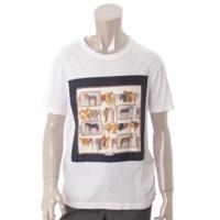 メンズ シルク スカーフ パッチワーク Tシャツ 389999 ホワイト XS