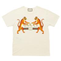 18SS タイガー&グッチ ロゴ Tシャツ プリント 492347 ホワイト