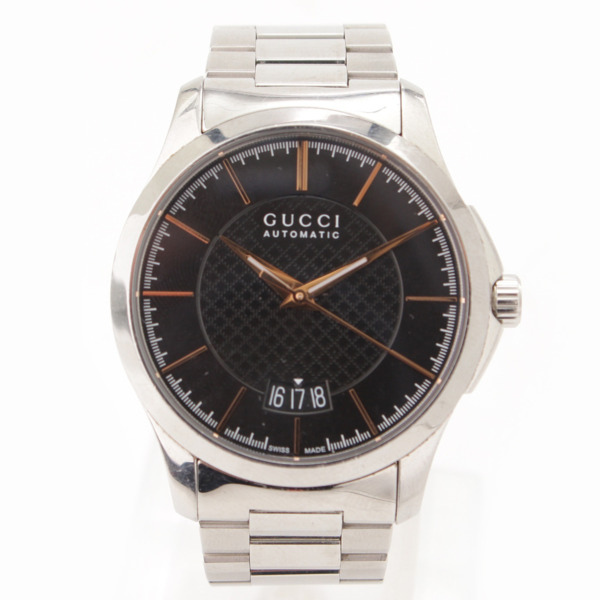 Gタイムレス 自動巻き SS 腕時計 シルバー ブラック
