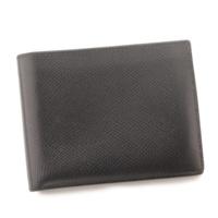 レザー 二つ折り 財布 札入れ □A刻 ブラック