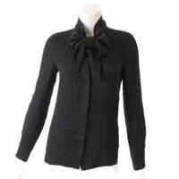 シルク H柄 スカーフシャツ リボン ブラック