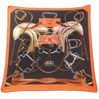 カレ90 プリーツ シルクスカーフ PROJETS CARRES プロジェクト ブラック オレンジ