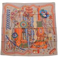 カレ90 シルクスカーフ LE LABOR ATOIRE DU TEMPS 時の実験室 グレー