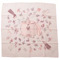 カレ90 シルクスカーフ Paris Modiste パリの帽子店 ピンク