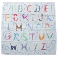 カレ90 シルクスカーフ Faune Lettree アルファベットの動物誌 ブルー