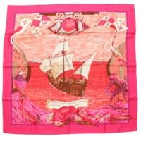 カレ90 シルクスカーフ Christophe Colomb コロンブス ピンク
