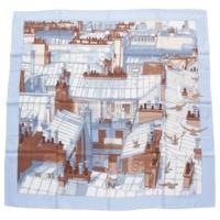 カレ90 シルクスカーフ LES TOITS DE PARIS パリの屋根 ブルー