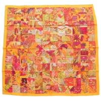 カレ90 シルクスカーフ Tout en Quilt オレンジ