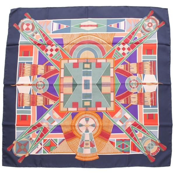 カレ90 シルクスカーフ L'ART INDIEN DES PLAINES 草原のインディアンアート