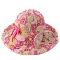 総柄 パイル地 ハット 帽子 ピンク
