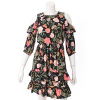 花柄 ドレス ワンピース ブラック 0