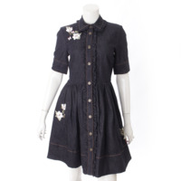 デニム 花柄 刺繍 ドレス ワンピース ネイビー 0