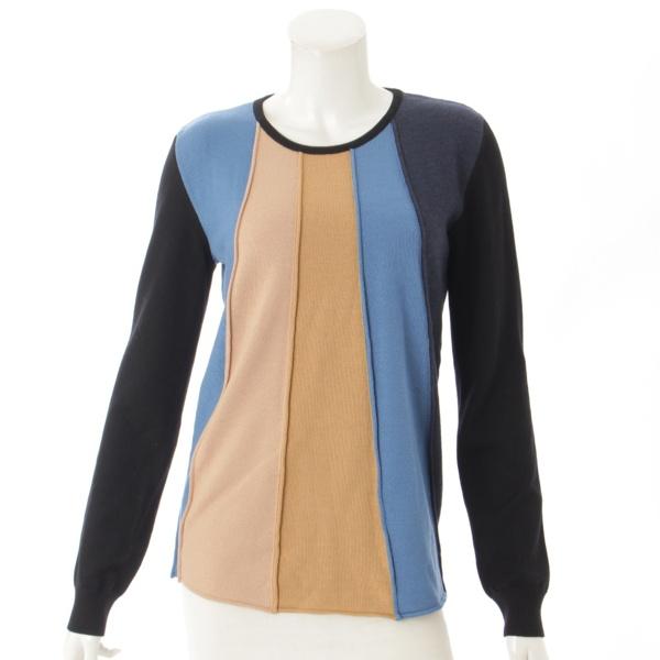 ウール 長袖 セーター ブラック×ブルー×ベージュ M